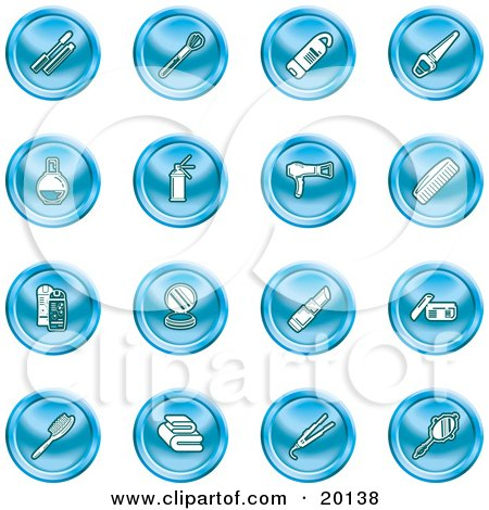 Clipart Illustration of a Collection Of Blue Beauty Icons Of Mascara, Brushes, Body Wash, Nail Polish, Perfume, Hairspray, Blow Dryer, Comb, Shampoo And Conditioner, Compact, Lipstick, Lotion, Towels, Hair Straightener, And Hand Mirror by AtStockIllustration