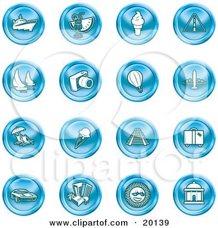 Clipart Illustration of a Collection of Blue Icons by AtStockIllustration