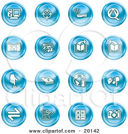 Clipart Illustration of a Collection Of Blue Icons Of A Computer, Viewfinder, Wireless, Questions And Answer, Castle, Music, Forward, Back, Www, Mail, Math And Camera by AtStockIllustration