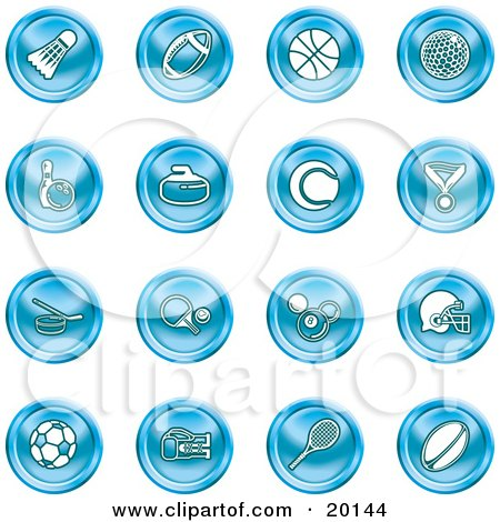 Clipart Illustration of a Blue Athletics Icons Of A Badmitten Shuttlecock, Football, Basketball, Golf Ball, Bowling, Curling Stone, Tennis, Medal, Hockey, Ping Pong, Billiards, Football Helmet, Soccer Ball, Boxing, And Rugby by AtStockIllustration