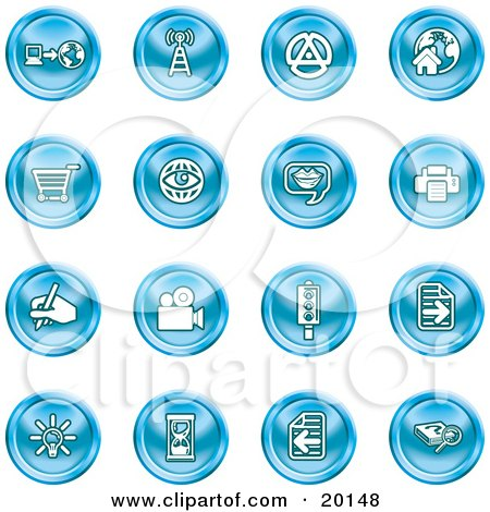 Clipart Illustration of a Collection Of Blue Icons Of A Communications Tower, Www, Home Page, Shopping Cart, Messenger, Printer, Camera, Street Light, Lightbulb, Hourglass And Search by AtStockIllustration