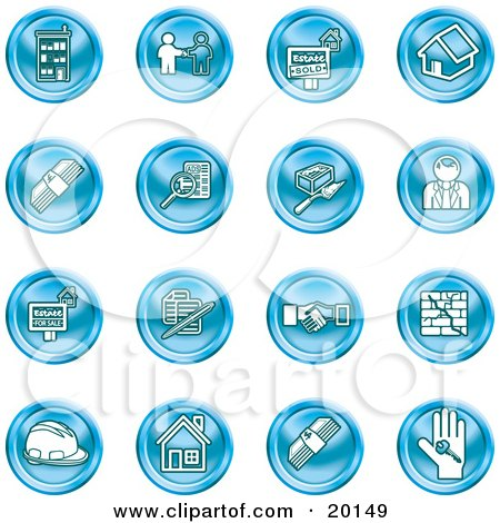 Clipart Illustration of a Collection of Blue Icons of Apartments, Handshake, Real Estate, House, Money, Classifieds, Brick Laying, Businessman, Hardhat And A Key by AtStockIllustration