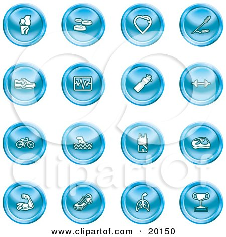 Clipart Illustration of a Collection Of Blue Icons Of A Knee Joint, Pills, Heart, Wheat, Shoes, Chart, Water Bottle, Weights, Bike, Swimmer, Fitness Clothes, Muscles, Lungs And Trophy by AtStockIllustration