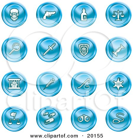 Clipart Illustration of a Collection Of Blue Icons Of A Skull, Pistol, Poison, Scales, Magnifying Glass, Knife, Police Badge, Candlestick, Prisoner, Syringe, Sheriff Badge, Pills, Handcuffs And A Noose by AtStockIllustration