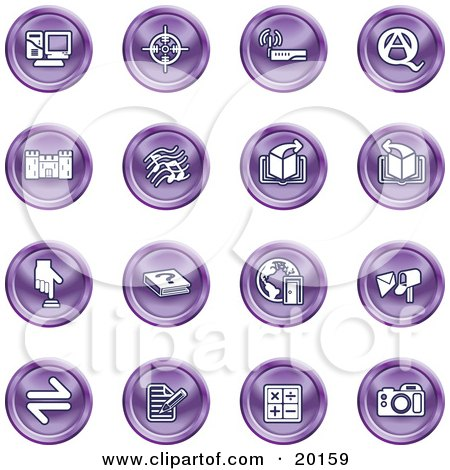 Clipart Illustration of a Collection Of Purple Icons Of A Computer, Viewfinder, Wireless, Questions And Answer, Castle, Music, Forward, Back, Www, Mail, Math And Camera by AtStockIllustration