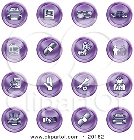 Clipart Illustration of a Collection Of Purple Icons Of Cars, A Log, Cash, Lemon, Dealer, Ads, Key, Wrench, Engine, Handshake And Money by AtStockIllustration