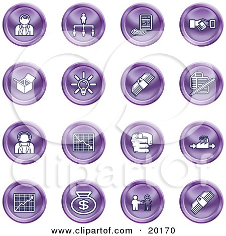 Clipart Illustration of a Collection Of Purple Business Icons Of Business People, Management, Hand Shake, Lightbulb, Cash, Charts, And Money Bags by AtStockIllustration