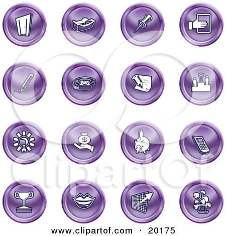 Clipart Illustration of a Collection Of Purple Icons Of A Door, Tape Dispenser, Tack, Pencil, Phone, Champion, Lightbulb, Money Bag, Piggy Bank, Cell Phone, Trophy, Lips, Chart, And Plant by AtStockIllustration