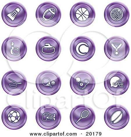 Clipart Illustration of a Collection Of Purple Athletics Icons Of A Badmitten Shuttlecock, Football, Basketball, Golf Ball, Bowling, Curling Stone, Tennis, Medal, Hockey, Ping Pong, Billiards, Football Helmet, Soccer Ball, Boxing, And Rugby by AtStockIllustration