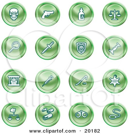 Clipart Illustration of a Collection Of Green Icons Of A Skull, Pistol, Poison, Scales, Magnifying Glass, Knife, Police Badge, Candlestick, Prisoner, Syringe, Sheriff Badge, Pills, Handcuffs And A Noose by AtStockIllustration