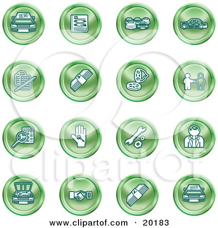 Clipart Illustration of a Collection Of Green Icons Of Cars, A Log, Cash, Lemon, Dealer, Ads, Key, Wrench, Engine, Handshake And Money by AtStockIllustration
