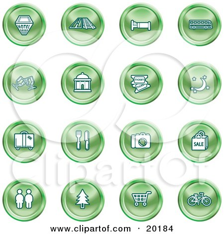 Clipart Illustration of a Collection Of Green Icons Of A Hotel, Road By Train Tracks, Bed, Bus, Wine Glasses, Tickets, Moon, Luggage, Diner, Camera, Shopping, Restrooms, Tree, Shopping Carts And Bicycle by AtStockIllustration