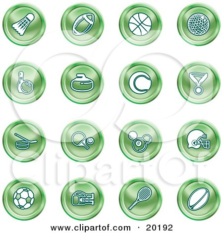 Clipart Illustration of a Collection Of Green Athletics Icons Of A Badmitten Shuttlecock, Football, Basketball, Golf Ball, Bowling, Curling Stone, Tennis, Medal, Hockey, Ping Pong, Billiards, Football Helmet, Soccer Ball, Boxing, And Rugby by AtStockIllustration