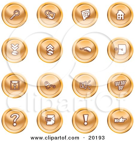 Clipart Illustration of a Collection Of Orange Icons Of A Magnifying Glass, Email, Home Page, Upload, Download, Mouse, Key, Disc, Padlock, Speaker, Www, Questionmark, And Exclamation Point by AtStockIllustration