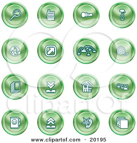 Clipart Illustration of a Collection Of Green Icons Of A Magnifying Glass, Cash Register, Flashlight, Internet, Film, Upload, Download, Home Page, And Connectivity by AtStockIllustration