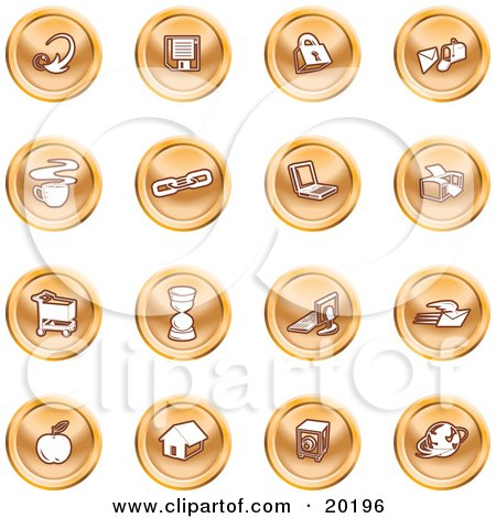 Clipart Illustration of a Collection Of Orange Icons Of An Arrow, Floppy Disc, Padlock, Mail, Coffee, Link, Laptop, Printer, Shopping Cart, Hourglass, Computer, Email, Apple, House, Camera And Globe by AtStockIllustration