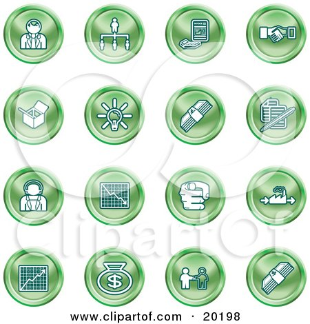 Clipart Illustration of a Collection Of Green Business Icons Of Business People, Management, Hand Shake, Lightbulb, Cash, Charts, And Money Bags by AtStockIllustration