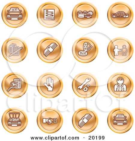 Clipart Illustration of a Collection Of Orange Icons Of Cars, A Log, Cash, Lemon, Dealer, Ads, Key, Wrench, Engine, Handshake And Money by AtStockIllustration