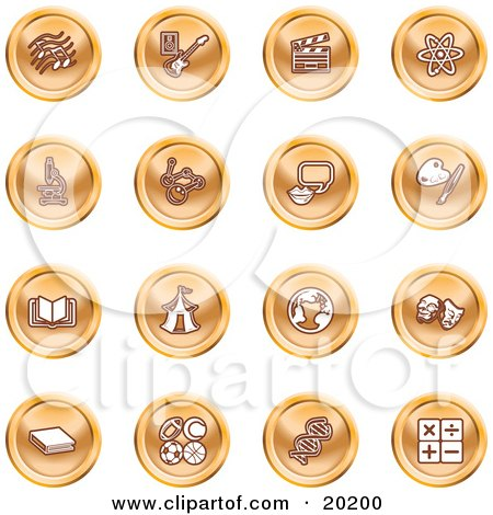 Clipart Illustration of a Collection Of Orange Icons Of Music Notes, Guitar, Clapperboard, Atom, Microscope, Atoms, Messenger, Painting, Book, Circus Tent, Globe, Masks, Sports Balls, And Math by AtStockIllustration