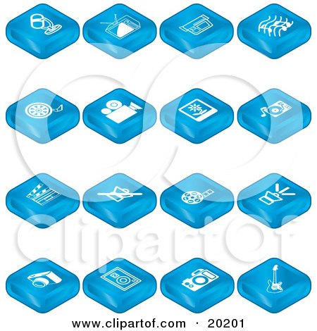 Clipart Illustration of a Collection Of Blue Tablet Icons Of A Microphone, Tv, Video Camera, Music Notes, Film Reel, Movie Camera, Polaroid, Record Player, Clapperboard, Sound Off, Sound On, Camera, Speaker, And Guitar by AtStockIllustration