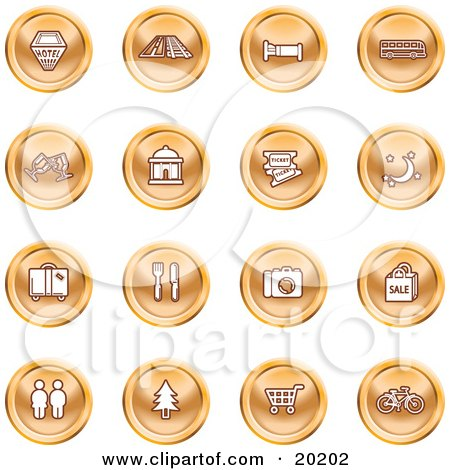 Clipart Illustration of a Collection Of Orange Icons Of A Hotel, Road By Train Tracks, Bed, Bus, Wine Glasses, Tickets, Moon, Luggage, Diner, Camera, Shopping, Restrooms, Tree, Shopping Carts And Bicycle by AtStockIllustration