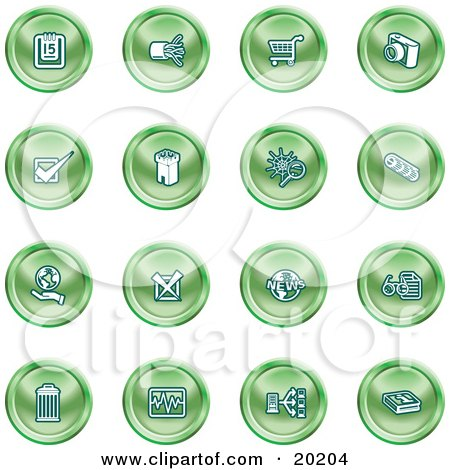 Clipart Illustration of a Collection Of Green Icons Of A Calendar, Cables, Shopping Cart, Camera, Check Mark, Fortress, News, Trash Can, Chart, Networking And Information by AtStockIllustration
