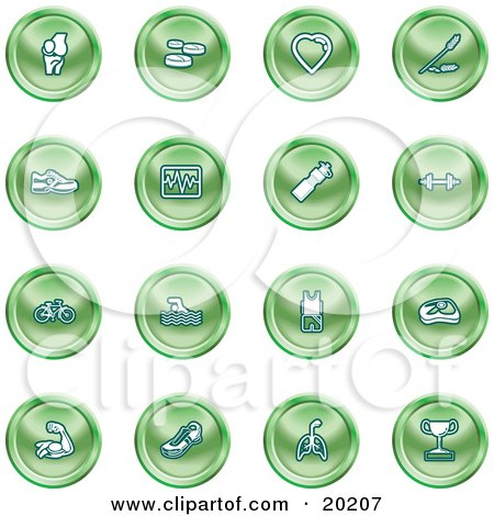 Clipart Illustration of a Collection Of Green Icons Of A Knee Joint, Pills, Heart, Wheat, Shoes, Chart, Water Bottle, Weights, Bike, Swimmer, Fitness Clothes, Muscles, Lungs And Trophy by AtStockIllustration