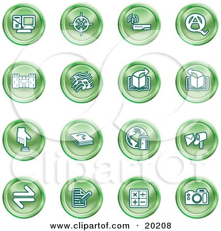 Clipart Illustration of a Collection Of Green Icons Of A Computer, Viewfinder, Wireless, Questions And Answer, Castle, Music, Forward, Back, Www, Mail, Math And Camera by AtStockIllustration