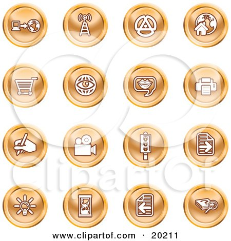 Clipart Illustration of a Collection Of Purple Icons Of A Communications Tower, Www, Home Page, Shopping Cart, Messenger, Printer, Camera, Street Light, Lightbulb, Hourglass And Search by AtStockIllustration