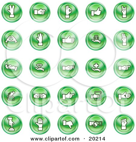 Clipart Illustration of a Collection Of Green Hand Gesture Icons by AtStockIllustration