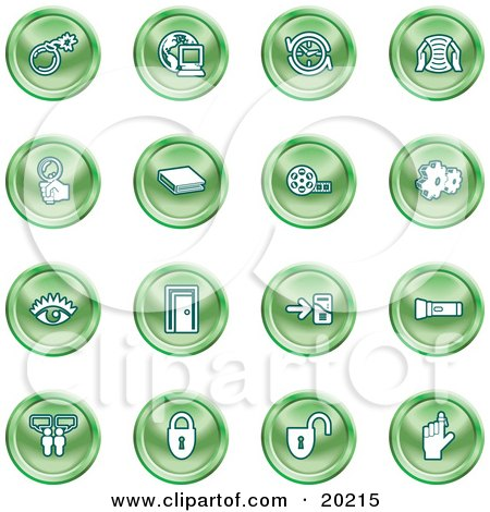 Clipart Illustration of a Collection Of Green Icons Of A Bomb, Computer, Letter, Magnifying Glass, Book, Film, Cogs, Eye, Door, Flashlight, Messenger, Padlocks And Reminder by AtStockIllustration