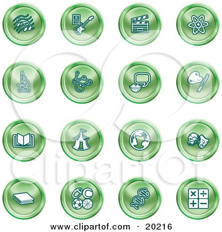 Clipart Illustration of a Collection Of Green Icons Of Music Notes, Guitar, Clapperboard, Atom, Microscope, Atoms, Messenger, Painting, Book, Circus Tent, Globe, Masks, Sports Balls, And Math by AtStockIllustration