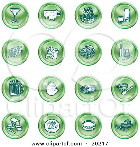 Clipart Illustration of a Collection Of Green Food Icons Of A Martini, Pigs, Fish, Juice, Kebobs, Corn, Wine, Beer, Chicken, Breakfast, Fruit, Bread, Meal, Burger And Cheese by AtStockIllustration