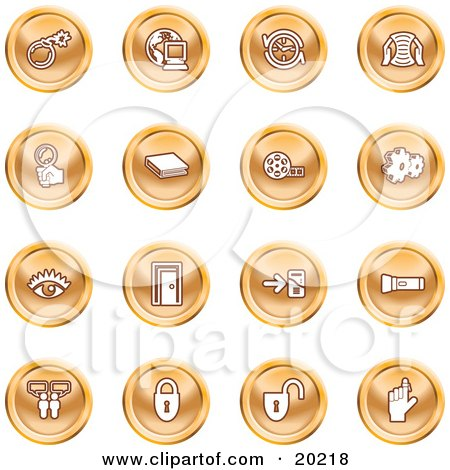 Clipart Illustration of a Collection Of Orange Icons Of A Bomb, Computer, Letter, Magnifying Glass, Book, Film, Cogs, Eye, Door, Flashlight, Messenger, Padlocks And Reminder by AtStockIllustration