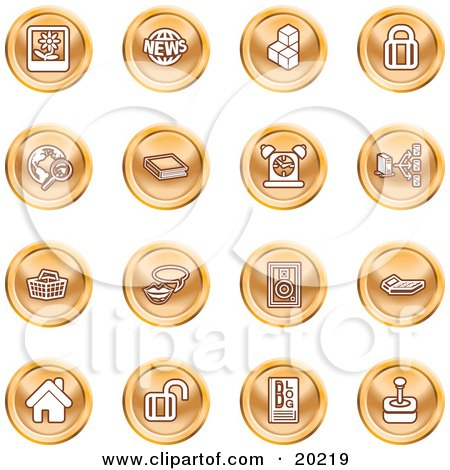 Clipart Illustration of a Collection Of Orange Icons Of A Polaroid, News, Cubes, Padlock, Www, Search, Book, Alarm Clock, Connectivity, Messenger, Speaker, Calculator, Home, Blog And Joystick by AtStockIllustration