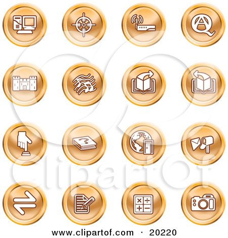 Clipart Illustration of a Collection Of Orange Icons Of A Computer, Viewfinder, Wireless, Questions And Answer, Castle, Music, Forward, Back, Www, Mail, Math And Camera by AtStockIllustration