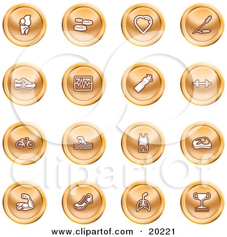 Clipart Illustration of a Collection Of Orange Icons Of A Knee Joint, Pills, Heart, Wheat, Shoes, Chart, Water Bottle, Weights, Bike, Swimmer, Fitness Clothes, Muscles, Lungs And Trophy by AtStockIllustration