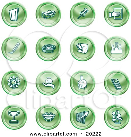 Clipart Illustration of a Collection Of Green Icons Of A Door, Tape Dispenser, Tack, Pencil, Phone, Champion, Lightbulb, Money Bag, Piggy Bank, Cell Phone, Trophy, Lips, Chart, And Plant by AtStockIllustration