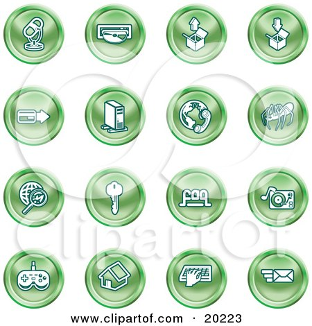 Clipart Illustration of a Collection Of Green Entertainment Icons Of A Microphone, Disc, Upload, Download, Credit Card, Computer, Telephone, Spider, Searching, Key, Faq, Record Player, Controller, Home, Typing And Email by AtStockIllustration