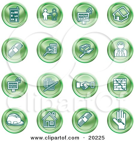 Clipart Illustration of a Collection Of Green Icons Of Apartments, Handshake, Real Estate, House, Money, Classifieds, Brick Laying, Businessman, Hardhat And A Key by AtStockIllustration
