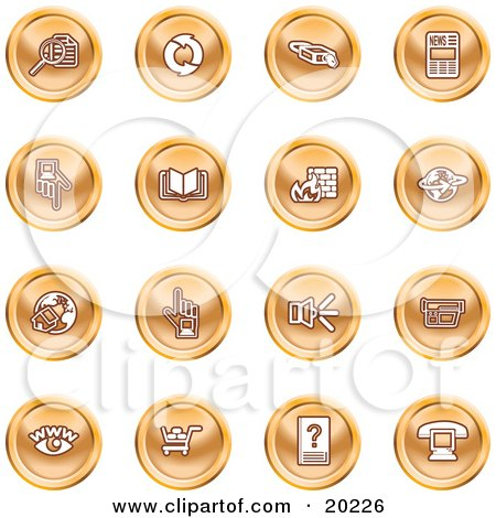 Clipart Illustration of a Collection Of Orange Icons Of Security Symbols On A White Background by AtStockIllustration