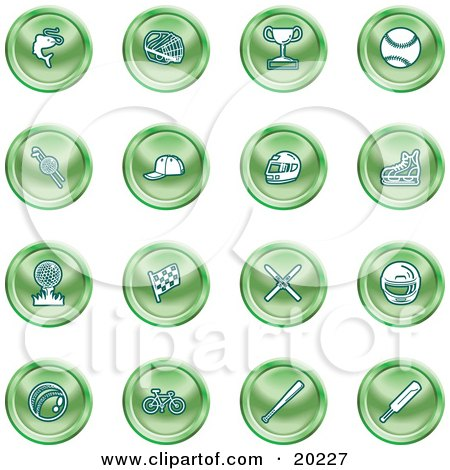 Clipart Illustration of a Collection Of Green Fishing, Hockey, Trophy, Baseball, Golfing, Racing, Ice Skating, Skiing, Cricket, And Cycling Sports Icons by AtStockIllustration