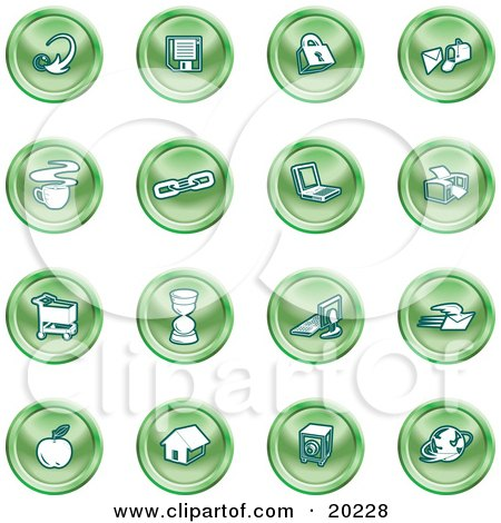 Clipart Illustration of a Collection Of Green Icons Of An Arrow, Floppy Disc, Padlock, Mail, Coffee, Link, Laptop, Printer, Shopping Cart, Hourglass, Computer, Email, Apple, House, Camera And Globe by AtStockIllustration