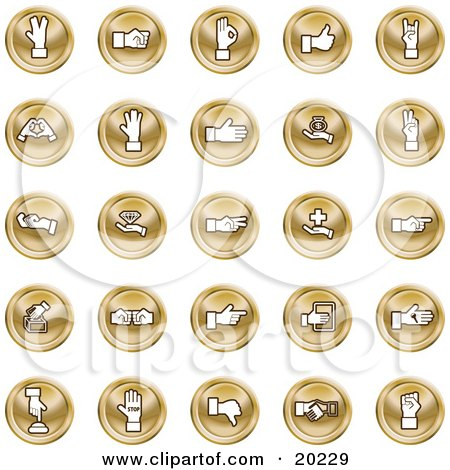 Clipart Illustration of a Collection Of Orange Hand Gesture Icons by AtStockIllustration