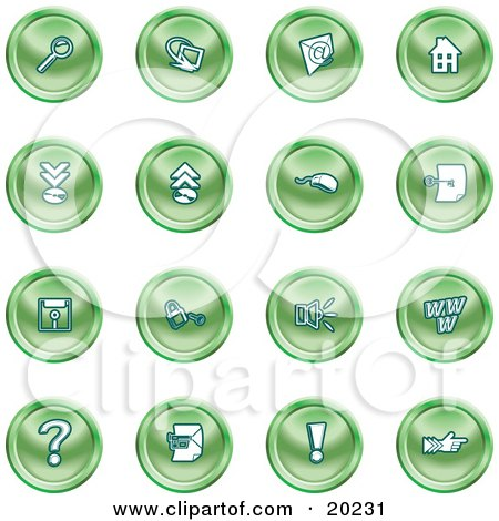 Clipart Illustration of a Collection Of Green Icons Of A Magnifying Glass, Email, Home Page, Upload, Download, Mouse, Key, Disc, Padlock, Speaker, Www, Questionmark, And Exclamation Point by AtStockIllustration