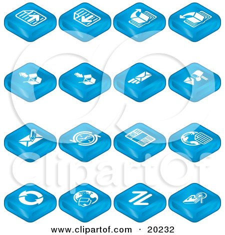 Clipart Illustration of a Collection Of Blue Web Browser Tablet Icons Of Forward And Back Buttons, Upload, Download, Email, Snail Mail, News, Refresh, Home And Search by AtStockIllustration