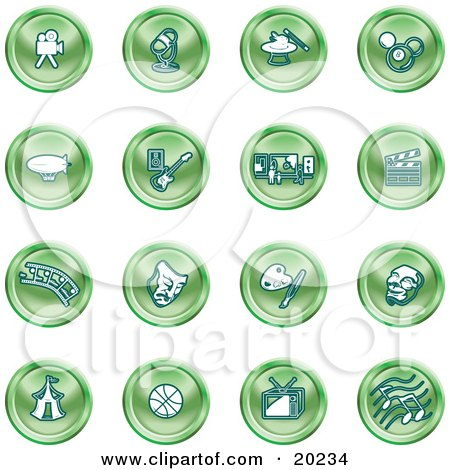 Clipart Illustration of a Collection Of Green Entertainment Icons Of A Video Camera, Microphone, Magic Trick, Billiards, Blimp, Electric Guitar, Museum, Clapboard, Film Strip, Theatre Mask, Painting, Circus Tent, Basketball, Tv, And Music by AtStockIllustration