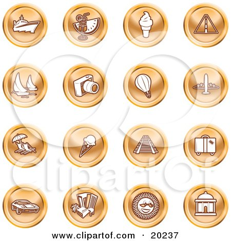 Clipart Illustration of a Collection Of Orange Icons Of On A White Background by AtStockIllustration