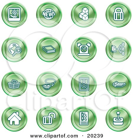 Clipart Illustration of a Collection Of Green Icons Of A Polaroid, News, Cubes, Padlock, Www, Search, Book, Alarm Clock, Connectivity, Messenger, Speaker, Calculator, Home, Blog And Joystick by AtStockIllustration