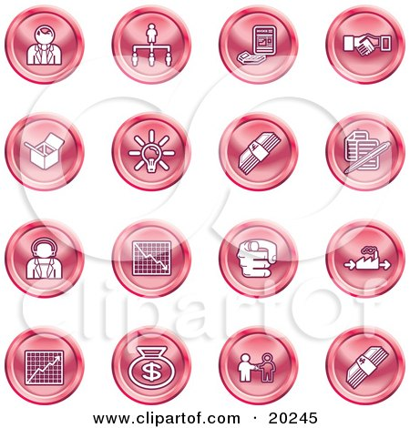 Clipart Illustration of a Collection Of Red Business Icons Of Business People, Management, Hand Shake, Lightbulb, Cash, Charts, And Money Bags by AtStockIllustration